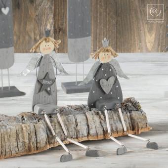 Новогодний набор ассорти 2 серых ангела с ножками