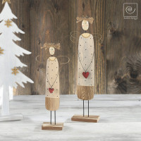 Новогодний набор 2 печальных ангела с сердечками