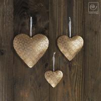 Новогодний набор 3 золотистых сердечка разных размеров