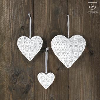 Новогодний набор елочные игрушки 3 белые сердечка