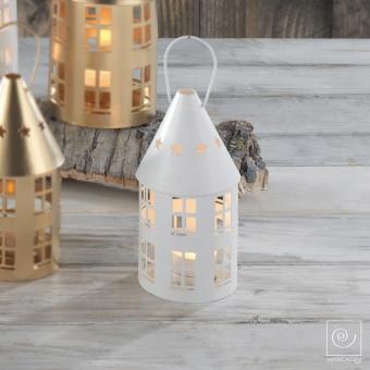 Новогодний декор Белый домик подсвечник, 15 см