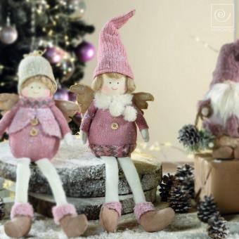 Новогодний декор Ангелочек в розовой шапке, 31 см
