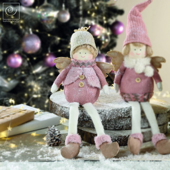 Новогодний декор Ангелочек в серой шапке, 22 см