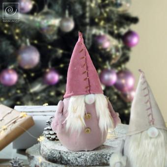 Новогодний декор Розовый гном, 27 см