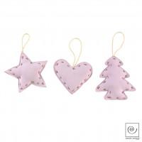 Новогодний декор Набор из 3 подвесок, розовые