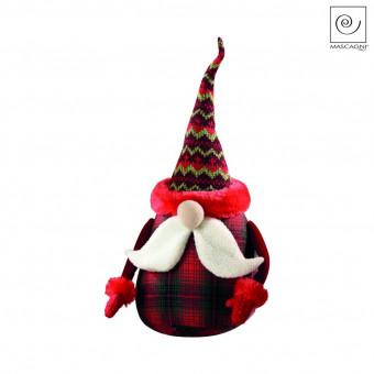 Новогодний декор Санта Клаус в красную клетку, 28 см