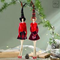 Новогодний декор Набор из 2 подвесок девушки с розовыми сумочками