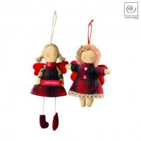 Новогодний декор Набор из 2 подвесок ангелочки в красную клетку