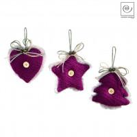 Новогодний декор Набор из 3 подвесок, фиолетовые