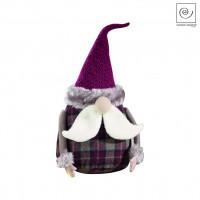 Новогодний декор Санта Клаус в фиолетовую клетку, 28 см