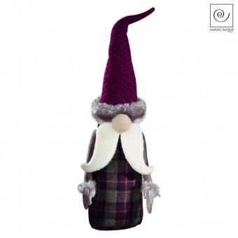 Новогодний декор Санта Клаус в фиолетовую клетку, 41 см