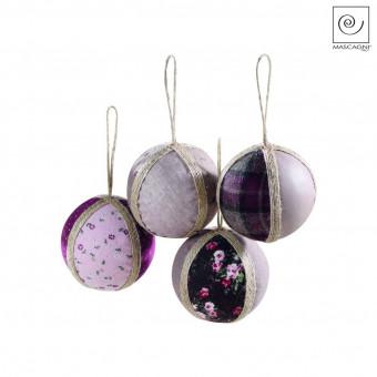 Новогодний декор Набор из 4 шариков с бежевыми нитками, d6,5 см