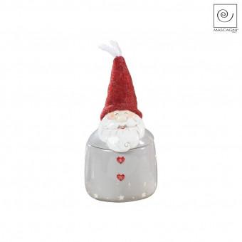 Новогодняя банка для сладостей Дед мороз серая, 20 см