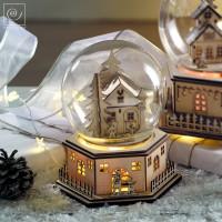 Новогодний декор Музыкальный домик в стеклянном куполе, 16,5 см