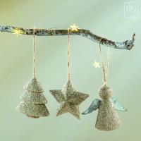 Новогодний декор Набор из 6 подвесок, золотистые