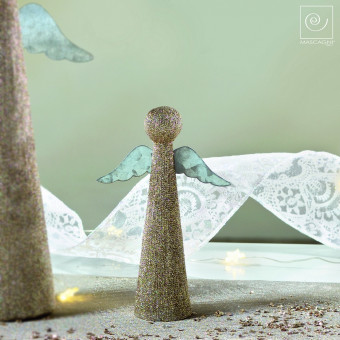 Новогодний декор Набор из 4 ангелочков, золотистые