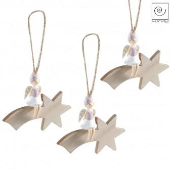 Новогодний декор Набор 3 ангелочка на падающей звезде
