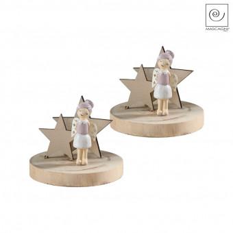 Новогодний декор Набор фигурок 2 ангелочка на деревянной подставке