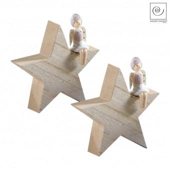 Новогодний декор Набор 2 ангелочка на деревянной звезде, 10,5 см
