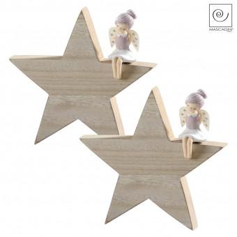 Новогодний декор Набор 2 ангелочка на деревянной звезде, 15,5 см