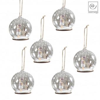Новогодний декор Набор 6 елочных шариков с ангелочками