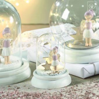 Новогодний декор Стеклянный шар с ангелом, 11 см