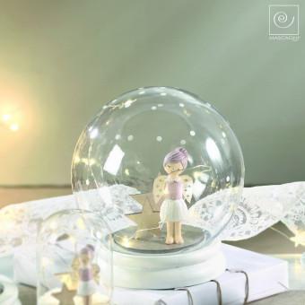 Новогодний декор Стеклянный шар с ангелом, 16 см