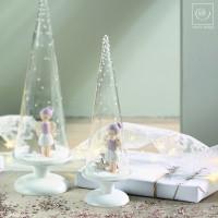 Новогодний декор Стеклянный конус с ангелом, 27 см