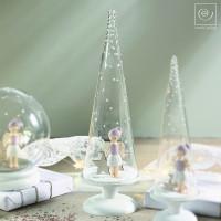 Новогодний декор Стеклянный конус с ангелом, 34 см