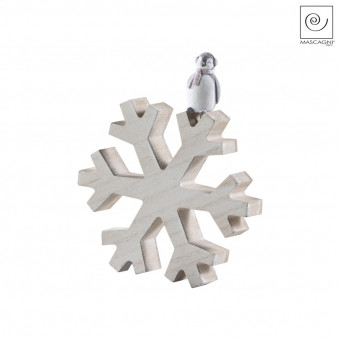 Новогодний декор Пингвин на снежинке