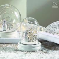 Новогодний декор Стеклянный шар с пингвином, 15 см