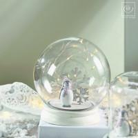 Новогодний декор Стеклянный шар с пингвином, 17 см