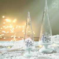 Новогодний декор Стеклянный конус с пингвином, 27 см