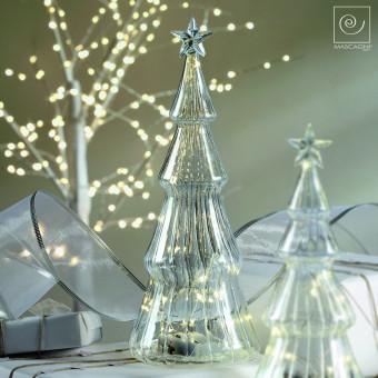 Новогодний декор Стеклянная Led-ель со звездой, 27 см