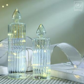 Новогодний декор Стеклянная Led-свеча, 21 см