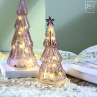 Новогодний декор Стеклянная Led-ель фиолетовая, 23,5 см