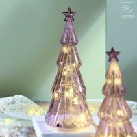 Новогодний декор Стеклянная Led-ель фиолетовая, d28,5 см