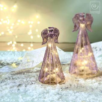 Новогодний декор Стеклянный Led-ангел фиолетовый, 15,5 см