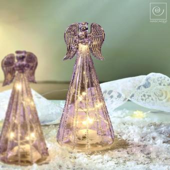 Новогодний декор Стеклянный Led-ангел фиолетовый, 18 см