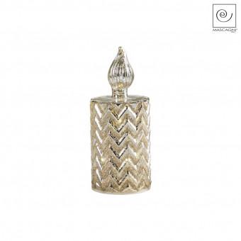 Новогодний декор Led-свеча золотистая с полосками, 20 см