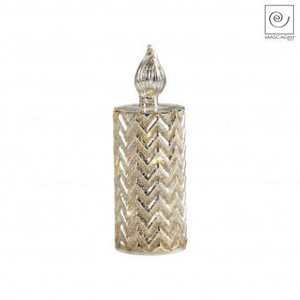 Новогодний декор Led-свеча золотистая с полосками, 23 см