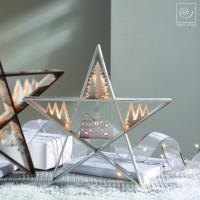Новогодний декор Звезда с елями и домом, 38,5 см
