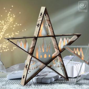 Новогодний декор Звезда с елями и домом, 48 см