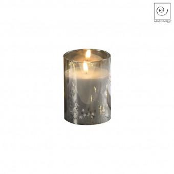 Новогодний декор Стеклянный подсвечник серый, 12,5 см