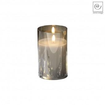 Новогодний декор Стеклянный подсвечник серый, 15 см