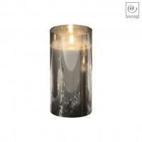 Новогодний декор Стеклянный подсвечник серый, 18 см