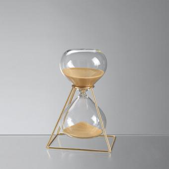 Песочные часы на 15 минут в каркасе, золотой песок